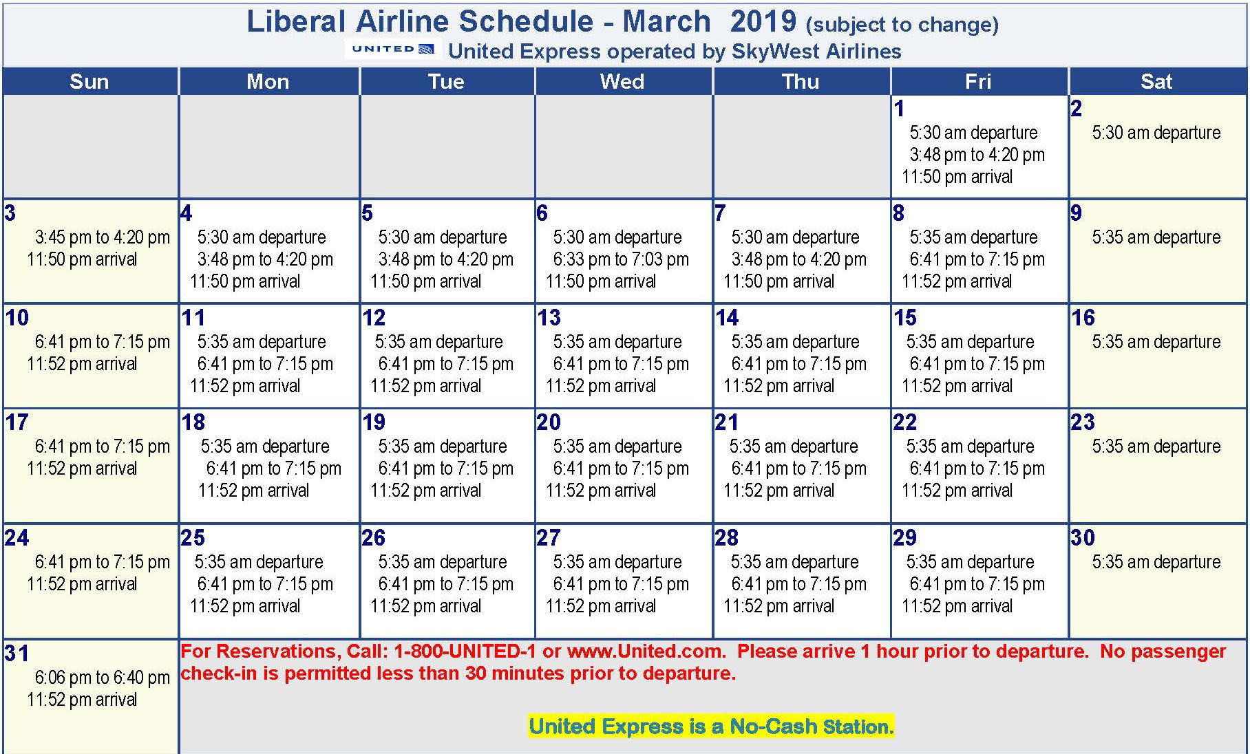 Liberal Airline Schedule March 2019
